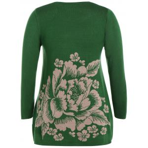 Longline Plus Size Graphic Sweater - GREEN ONE SIZE