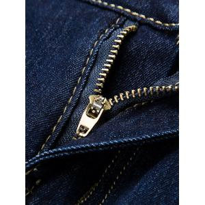 Button Embellished Zip Fly Jeans in Taper Fit - DEEP BLUE 36
