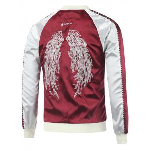 Letter Wing Embroidery Raglan Sleeve Souvenir Jacket -