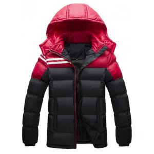 Zip Up Striped Color Block Hooded Padded Jacket
