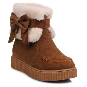 Faux Fur Bow Stitching Snow Boots - Brown - 39