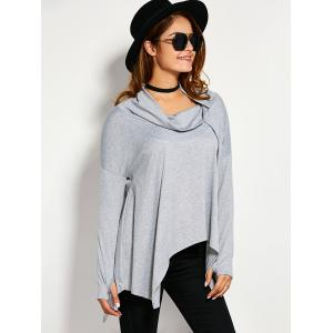 Drop Shoulder High Low Crow Neck T-Shirt -