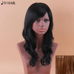 Siv Long Oblique Bang Shaggy Wavy Human Hair Wig