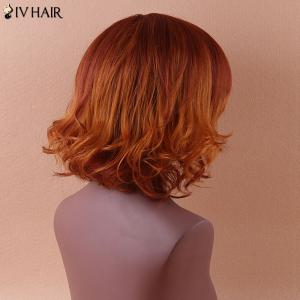 Siv Shaggy Medium Side Bang Curly Colormix Human Hair Wig -