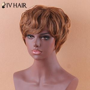Siv Short Slightly Curled Side Bang Human Hair Wig -