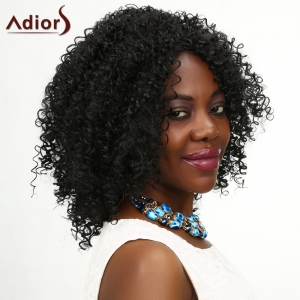 Adiors Medium Middle Parting Kinky Curly Shaggy Synthetic Wig