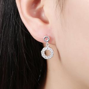 Embellished Circle Earrings - SILVER