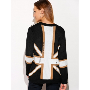 Distressed Flag Graphic Sweater - WHITE ONE SIZE