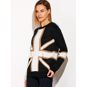 Distressed Flag Graphic Sweater -