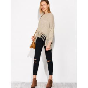 Asymmetrical Fringed Sweater -