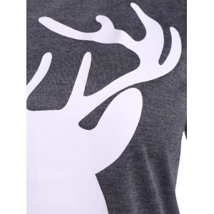 Christmas Elbow Patch Reindeer Print Tee - GRAY XL