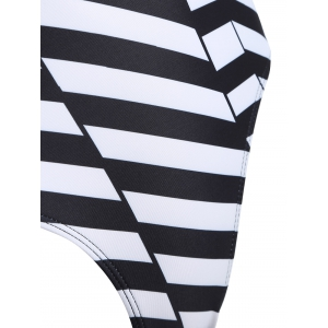 Plunging Neck Striped Backless Swimwear -