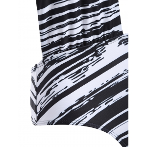 Halter Striped Backless Swimwear - STRIPE XL
