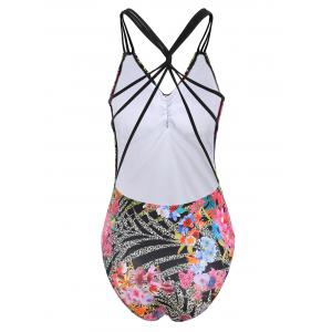 Strappy Backless Floral Print Swimwear - BLACK XL