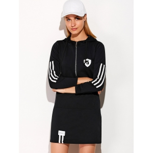 Hooded Zip Striped 5 Graphic Dress - BLACK 2XL