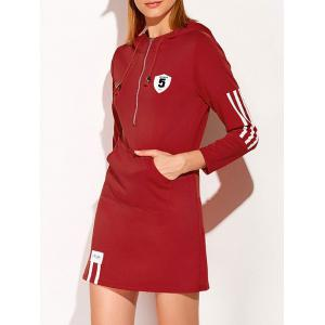 Hooded Zip Striped 5 Graphic Dress - Deep Red - M
