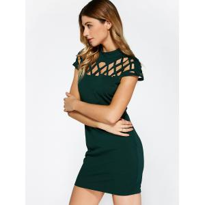 Hollow Out Bandage Bodycon Mini Club Dress - GREEN S