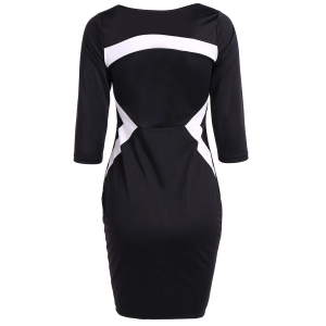 Zipper Design Contrast Slimming Dress -