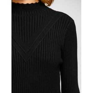 High Neck Openwork Ribbed Sweater -
