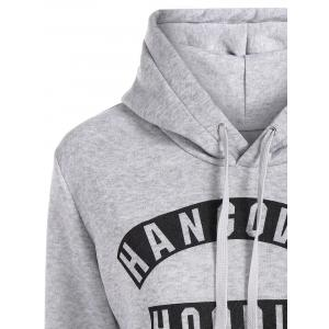 Letter Print Drawstring Hoodie with Pockets - GRAY XL