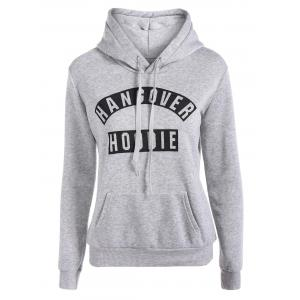 Letter Print Drawstring Hoodie with Pockets - Gray - S