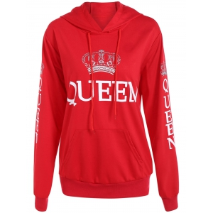 Pullover Queen Print Drawstring Hoodie - Red - S