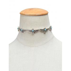 Artificial Turquoise Peace Dove Choker Necklace - SILVER