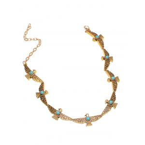 Artificial Turquoise Peace Dove Choker Necklace -