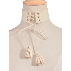 Artificial Leather Velvet Tassel Choker Necklace
