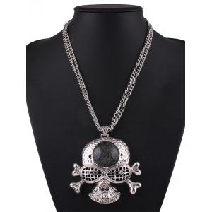 Rhinestone Skull Bone Pendant Necklace -