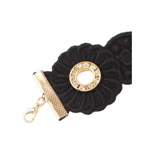 Rhinestone Flower Velvet Choker Necklace - BLACK