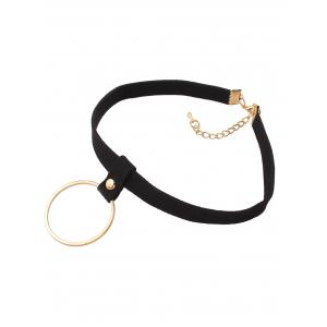 Faux Leather Velvet Circle Choker Necklace -