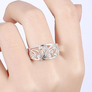 Hollow Out Rhinestone Ring - SILVER 8