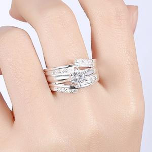 Layered Rhinestone Ring - SILVER 8