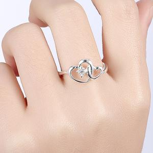 Rhinestone Double Love Heart Ring -