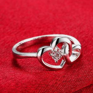 Rhinestone Double Love Heart Ring - SILVER 8
