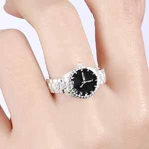 Rhinestone Watch Ring - Silver - 8