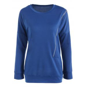 Jewel Neck Oblique Zipper Design Drop Shoulder Sweatshirt