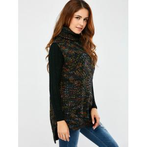 Turtle Neck  Space Dyed Chunky Sweater Vest -