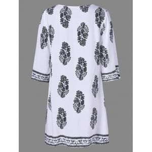 Casual Print Peasant Shift Dress - WHITE XL