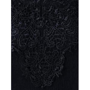 Lace Insert Knit Fit And Flare Dress - BLACK 2XL