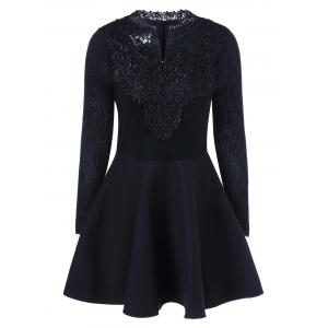 Lace Insert Knit Fit And Flare Dress - Black - S