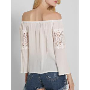 Lace Spliced Openwork Off The Shoulder Blouse - WHITE 2XL