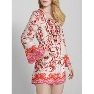 Bohemian Printed Criss Cross Long Sleeve Romper -