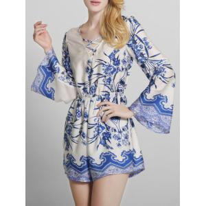 Bohemian Printed Criss Cross Long Sleeve Romper - Blue - 2xl