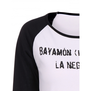 Letter Graphic Raglan Sleeves T-Shirt -