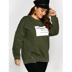 Plus Size Letter Graphic Zipper Fleece Sweatshirt -