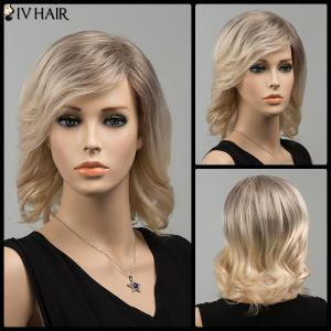 Medium Mixed Color Side Bang Tail Upward Siv Human Hair Wig - Colormix