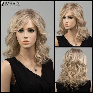 Medium Mixed Color Side Bang Wavy Siv Human Hair Wig - Colormix