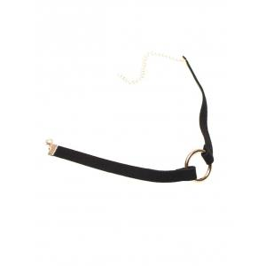 Copper Coil Velvet Strip Choker Necklace - BLACK
